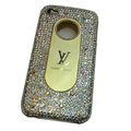 LV Bling crystal hard case for iPhone 4G - white