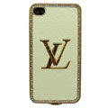 LV bling crystal metal case for iPhone 4G - Milky
