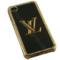 LV bling crystal metal case for iPhone 4G - black