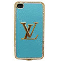 LV bling crystal metal case for iPhone 4G - blue