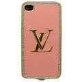 LV bling crystal metal case for iPhone 4G - pink