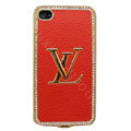 LV bling crystal metal case for iPhone 4G - red