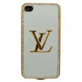 LV bling crystal metal case for iPhone 4G - white