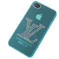 LV hard case bling crystal cover for iPhone 4G - blue