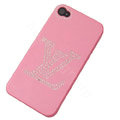 LV hard case bling crystal cover for iPhone 4G - pink