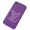 LV hard case bling crystal cover for iPhone 4G - purple