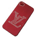 LV hard case bling crystal cover for iPhone 4G - red
