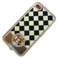 LV metal case bling crystal cover for iPhone 4G - Milky