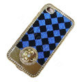 LV metal case bling crystal cover for iPhone 4G - blue