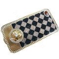 LV metal case bling crystal cover for iPhone 4G - brown