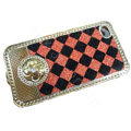 LV metal case bling crystal cover for iPhone 4G - red