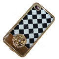 LV metal case bling crystal cover for iPhone 4G - white