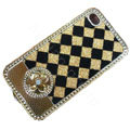 LV metal case bling crystal cover for iPhone 4G - yellow