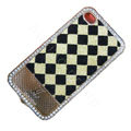 LV metal case crystal bling cover for iPhone 4G - Milky