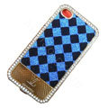 LV metal case crystal bling cover for iPhone 4G - blue