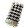 LV metal case crystal bling cover for iPhone 4G - brown