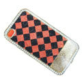 LV metal case crystal bling cover for iPhone 4G - red