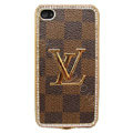 LV bling crystal metal case cover for iPhone 4G - brown