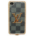 LV bling crystal metal case cover for iPhone 4G - cyan