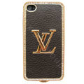 LV bling crystal metal case cover for iPhone 4G - deep brown