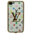 LV bling crystal metal case cover for iPhone 4G - white