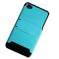 Amass Stand Hard Back Cases Covers for iPhone 4G - blue