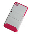 Amass Stand Hard Back Cases Covers for iPhone 4G - pink edge