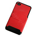 Amass Stand Hard Back Cases Covers for iPhone 4G - red