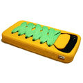 ISHOES Shoelace silicone cases covers for iPhone 4G - yellow