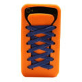 ISHOES blue Shoelace silicone cases covers for iPhone 4G - orange