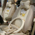 Beige hello kitty 18-piece full sets Universal Car Seat Covers Kits
