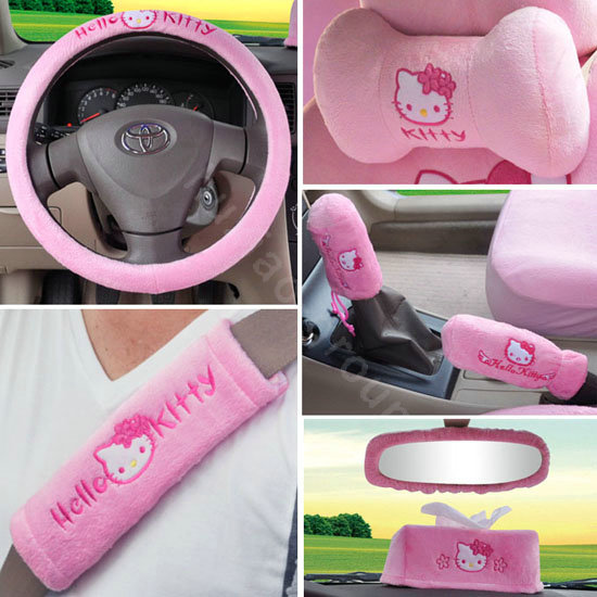 Buy Wholesale Hello Kitty Ice Silk Universal Car Seat Covers 19 Pieces Pink Car Seat Covers