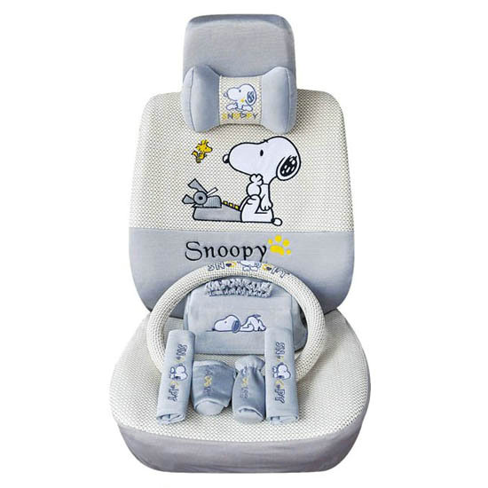 NAMESnoopy Ice Silk Universal Car Seat Covers Sets
