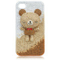 3D Bling Bear Swarovski crystal case covers for iPhone 4G