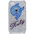 Bling Dolphin crystal cases skin for iPhone 4G - blue