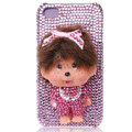 Bling Monchichi crystal cases covers for iPhone 4G - pink