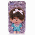 Bling Monchichi crystal cases covers for iPhone 4G - purple
