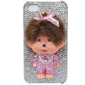 Bling Monchichi crystal cases covers for iPhone 4G - white