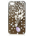 Flower bling crystal case covers for iPhone 4G - white