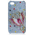 Bling Butterfly crystal cases covers for iPhone 4G - pink