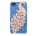Bling Peacock Swarovski crystal cases covers for iPhone 4G - Blue