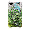 Bling Peacock Swarovski crystal cases covers for iPhone 4G - Green