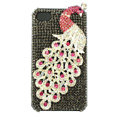 Bling Peacock Swarovski crystal cases covers for iPhone 4G - Grey