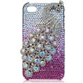 Bling Peacock Swarovski crystal cases covers for iPhone 4G - Pink