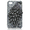 Bling Peacock Swarovski crystal cases for iPhone 4G - Black
