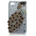 Bling Peacock Swarovski crystal cases for iPhone 4G - Brown