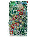 Bling Peacock Swarovski crystal cases for iPhone 4G - Cyan