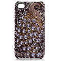 Bling Peacock Swarovski crystal cases for iPhone 4G - Espresso