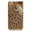 Bling Peacock Swarovski crystal cases for iPhone 4G - Gold