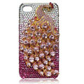Bling Peacock Swarovski crystal cases for iPhone 4G - Pink
